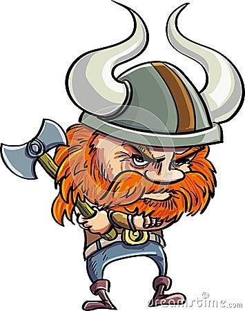 Милый шарж Викинг с роговым шлемом