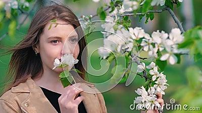 Молодая женщина красоты наслаждаясь яблоневым садом природы весной, счастливой красивой девушкой в саде с зацветая деревьями armo сток-видео