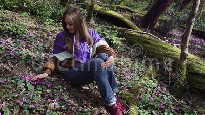 Молодая пара идет держащ руки в лесе сказки, вид спереди Фантазия, атмосфера fairytail сток-видео