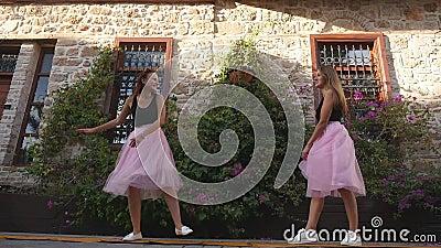 Молодые женщины образа жизни 2 моды в юбке Тюль смешно встречают один другого акции видеоматериалы