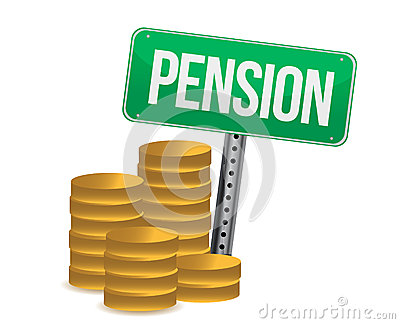 Монетки и иллюстрация знака пенсии