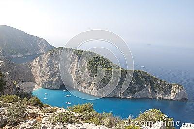 Море пляжа Navagio Ionian