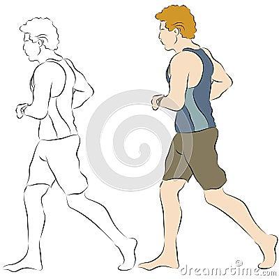 мужчина jogger пляжа