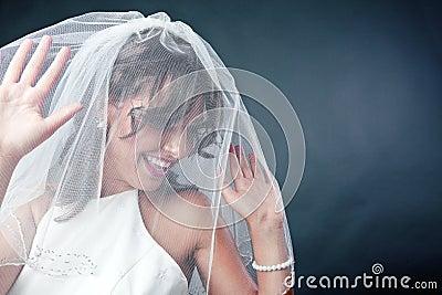 Невеста нося bridal вуаль
