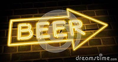 Неоновый знак 'Пиво' показывает бар 'Направление' или паб - 4 кбайт акции видеоматериалы