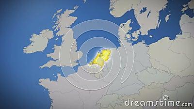 Нидерланды на карте Европы Страна вытягивает вне background card congratulation invitation акции видеоматериалы
