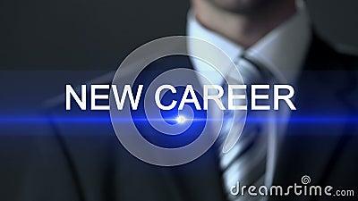 Новая карьера, мужской нося экран официального костюма касающий, занятость, профессиональная сток-видео