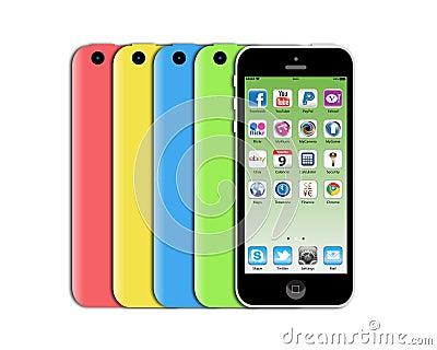 Новое iphone 5c Яблока Редакционное Стоковое Изображение