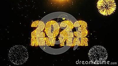 2023 Новый год Sky Text Желание на Firework Display взрывные частицы сток-видео