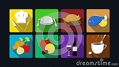 Обедать анимация значка: варить, цыпленок рыбы, овощи, плодоовощи, вино, кофе бесплатная иллюстрация
