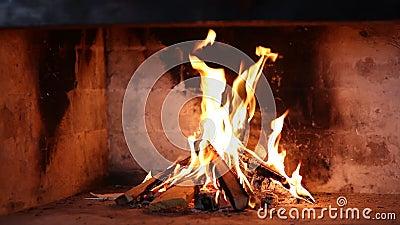 Огонь журнала в камине видеоматериал