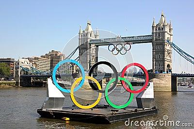 Олимпийские кольца Редакционное Стоковое Изображение