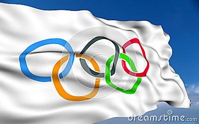 Олимпийский флаг Редакционное Фото