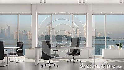 Опорожните современные офис, остров и метрополию с небоскребами вне большого окна Плита предпосылки, видео Chroma ключевое сток-видео