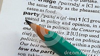 Определение слова партии на странице терминологии, политической группе соединенной в мнении сток-видео