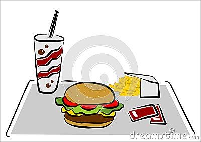 откалывает гамбургер