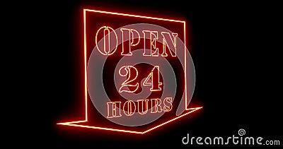 Открытый 24-часовой знак показывает, что бизнес доступен и приветствуется поддержка - 4000 акции видеоматериалы