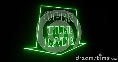 Открыть до поздней даты знак ночного ночного места или бара ночного клуба - 4k сток-видео