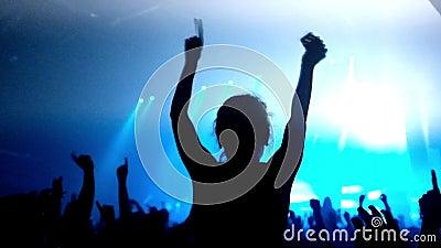 Отснятый видеоматериал толпы partying на рок-концерте