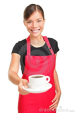 официантка сервировки кофе