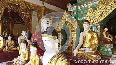 Павильон Buddhas пагоды Shwedagon в Янгоне акции видеоматериалы