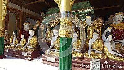 Пагода Buddhas Shwedagon в Янгоне, Мьянме видеоматериал