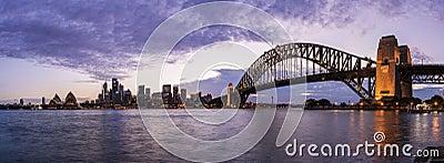 Панорама гавани Сиднея Редакционное Фотография