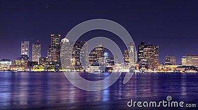 Панорама ночи Бостон
