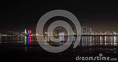 Панорама ночного бульвара в Баку акции видеоматериалы