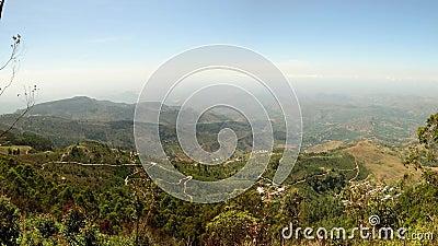 Панорама от места Lipton, страны холма, назначения перемещения в Шри-Ланке сток-видео