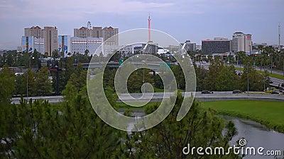 Панорамный вид международного привода и всеобщего бульвара от стоянки Citywalk акции видеоматериалы