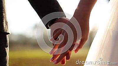 Пары свадьбы держа руки на предпосылке захода солнца акции видеоматериалы
