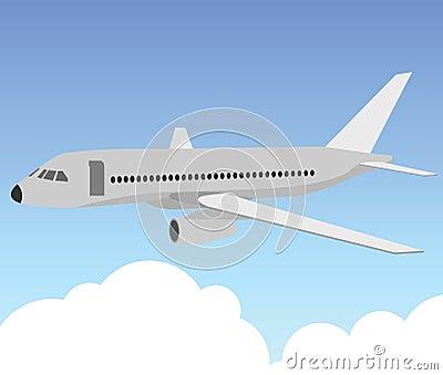 Пассажирский самолет в голубом небе