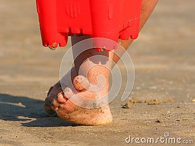 песочные пальцы ноги