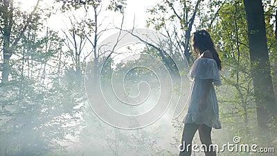 Платье загадочной женщины нося белое идет в туман тумана в древесинах на восходе солнца - видеоматериал