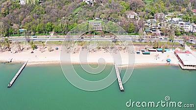 Побережье моря Азова в городе Mariupol видеоматериал