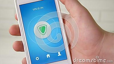 Поворачивать дальше VPN на smartphone для безопасного интернет-серфинга акции видеоматериалы