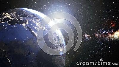 Поворотная зона Планета Земля Европа и зона Африки с красивым солнцем от ночи к дню, Облака вокруг яркого Солнца иллюстрация штока