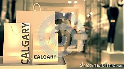 покупка пакетов с текстом calgary Покупки в Канаде: концептуальная трехмерная анимация сток-видео