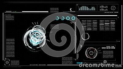пользовательский интерфейс 4K UI с предпосылкой черноты таблицы текстового поля бара HUD pi для технологии кибер и футуристическо иллюстрация вектора