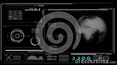 пользовательский интерфейс 4K UI с предпосылкой черноты таблицы текстового поля бара HUD pi для технологии кибер и футуристическо бесплатная иллюстрация