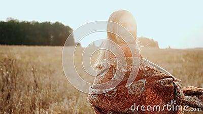 Портрет красивой молодой девушки, стоящей на пшеничном поле и смотрящей на камеру при закате света Современное сельское хозяйство акции видеоматериалы