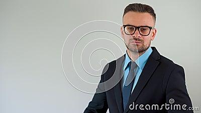 Портрет официально одетого бородатого человека в очках выпрямляет галстук и смотрит на камеру сток-видео