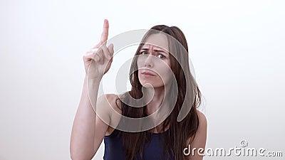 Портрет поучительной женщины сетка перста вверх по вектору frown Поучительный жест сток-видео