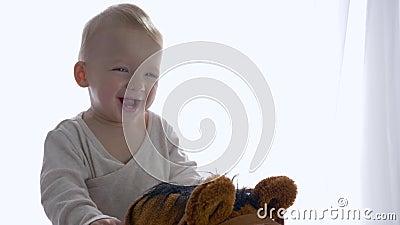 Портрет счастливого смеясь удовольствия взятия ребенк ехать на игрушке equine в комнате акции видеоматериалы