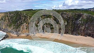 Прекрасный пляж Урса сверху - как рай сток-видео