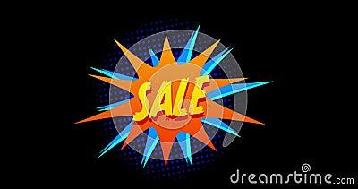 Продажа слова появляясь против оранжевого и голубого влияния 4k взрыва иллюстрация штока