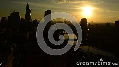 Промежуток времени восхода солнца в Хошимине (Сайгоне) Вьетнаме сток-видео