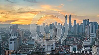 Промежуток времени Куалаа-Лумпур Малайзии сток-видео
