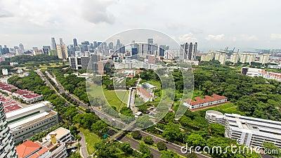 Промежуток времени Moving облаков с городским пейзажем 1080p Сингапура акции видеоматериалы